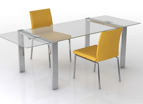 Aruba contemporary glass extending dining table