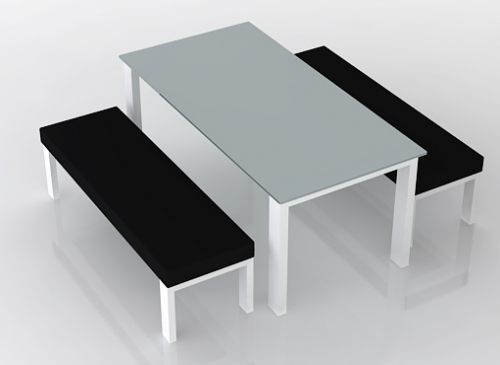 Outdoor furniture designer table with benches